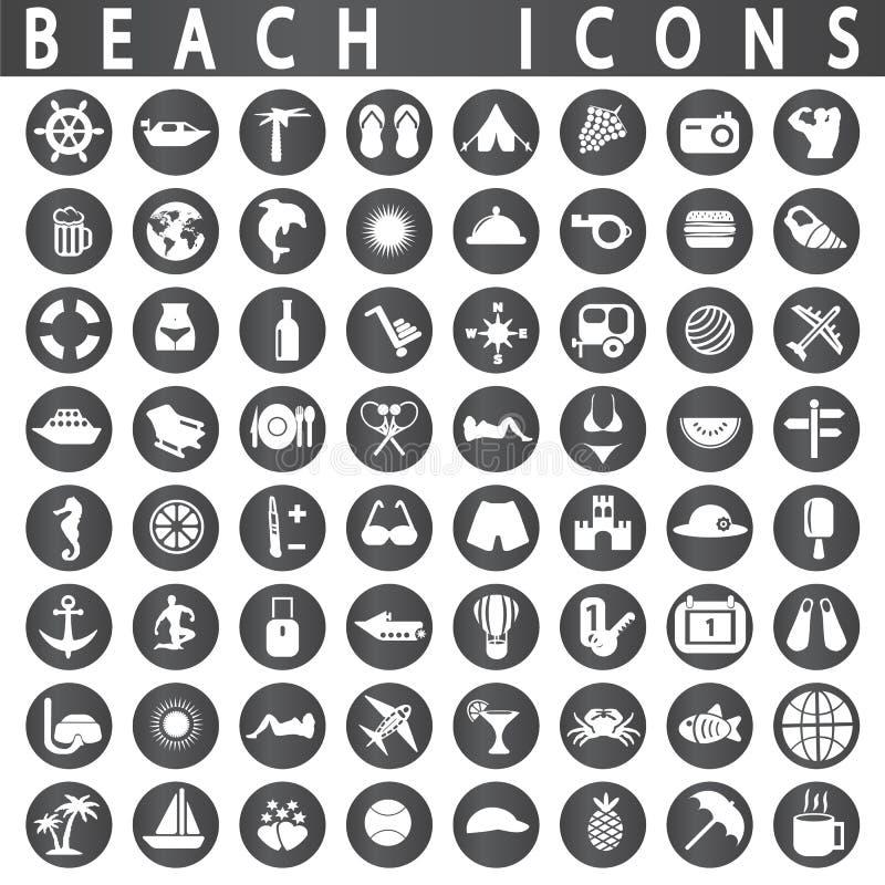 Plażowe ikony royalty ilustracja