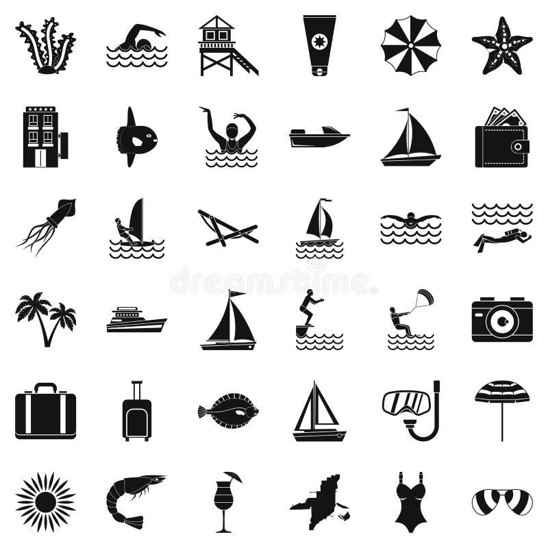 Plażowe ikony ustawiać, prosty styl ilustracji