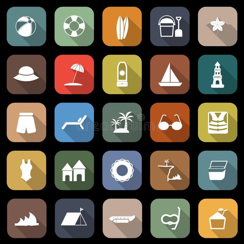 Plażowe płaskie ikony z długim cieniem ilustracja wektor