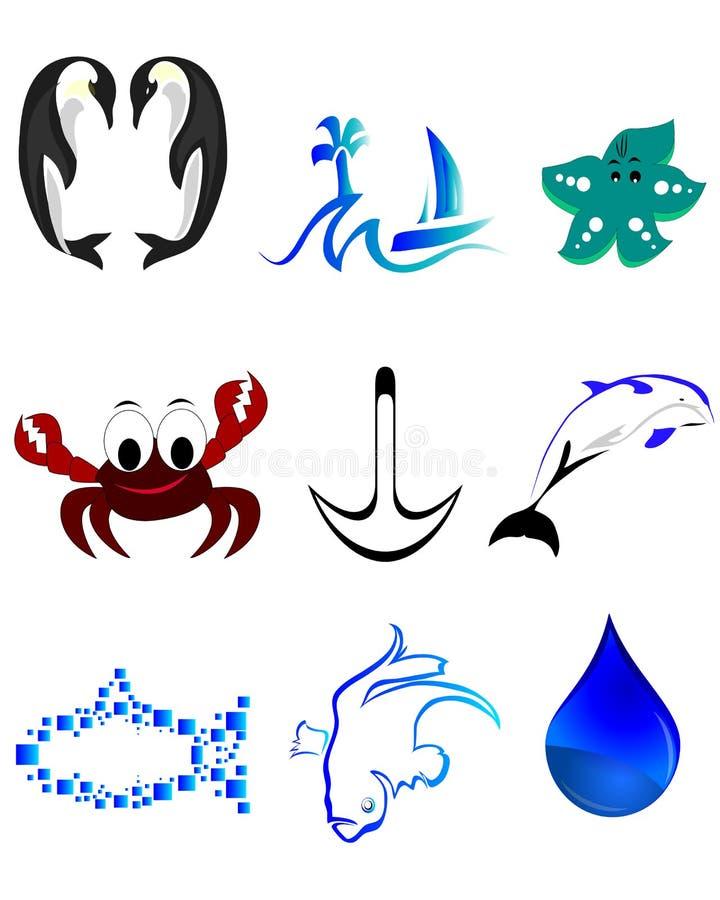 Plażowe rybie ikony royalty ilustracja