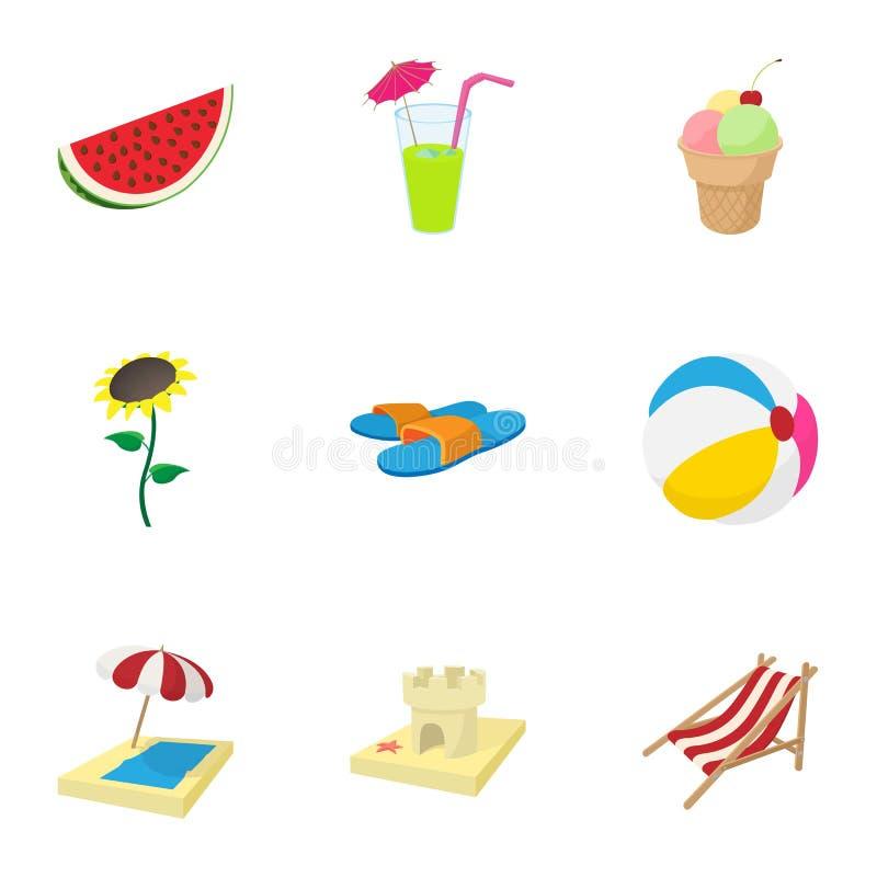 Plażowe urlopowe ikony ustawiać, kreskówka styl ilustracji