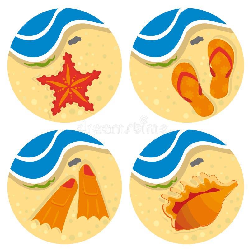 plażowego jaskrawy projekta ustalony materiał twój royalty ilustracja