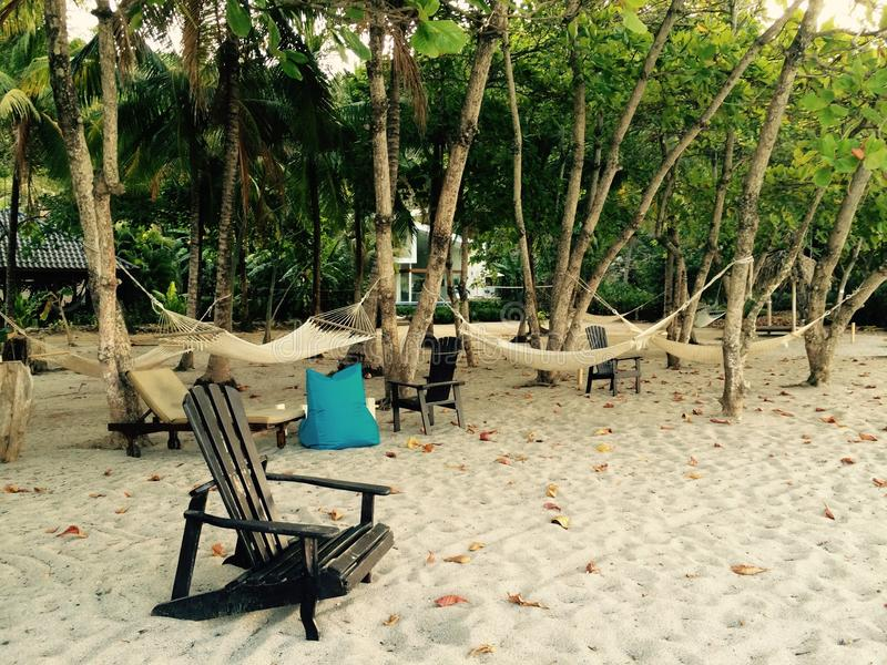 Plażowego krzesła i hamaka costa rica obrazy stock