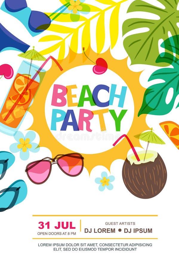 Plażowego partyjnego wektorowego lata projekta plakatowy szablon Słońce, palma opuszcza i koktajle doodle ilustrację ilustracja wektor