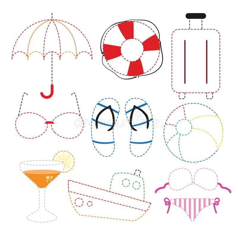 Plażowego zabawkarskiego worksheet wektorowy projekt royalty ilustracja