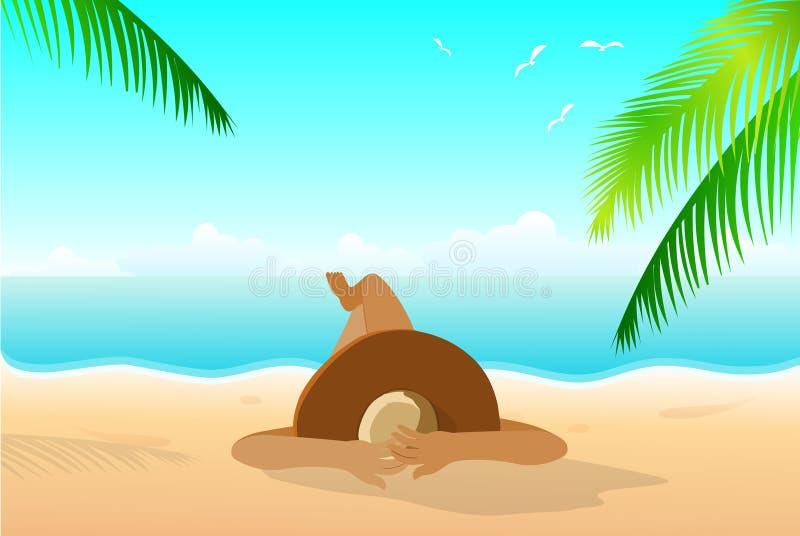 plażowej brzegowej cibory śródziemnomorska piaska kamieni lato kipiel royalty ilustracja