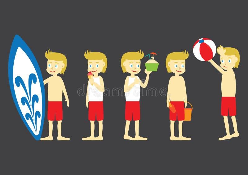 Download Plażowej Chłopiec Kreskówki Płaski Projekt Ilustracja Wektor - Ilustracja złożonej z mieszkanie, surfing: 57668776