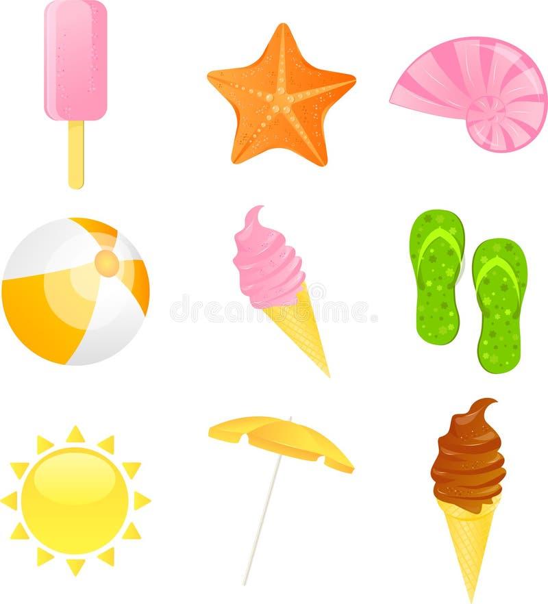 plażowej ikony ilustracyjny ustalony lato wektor royalty ilustracja