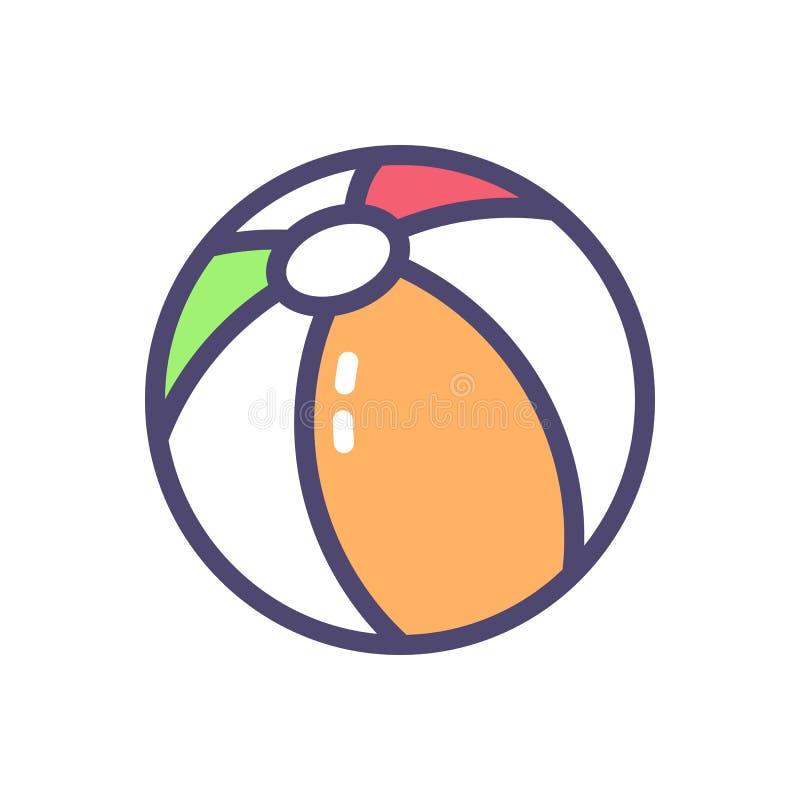 Plażowej piłki ikona Wektor wypełniająca cienka kontur ilustracja ilustracja wektor