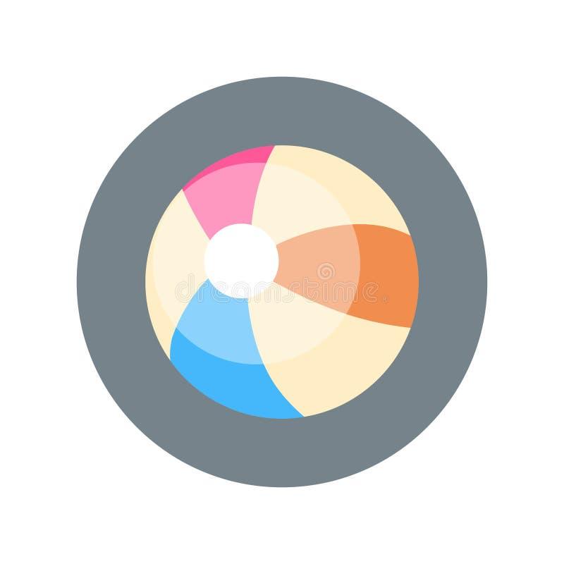 Plażowej piłki ikony Kolorowy wakacje Na Dennym wycieczki pojęciu ilustracji