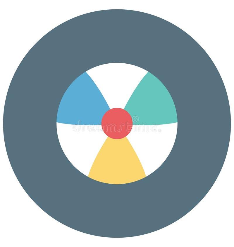 Plażowej piłki koloru ikony editable, specjalny Ilustracyjny wektor Odizolowywający łatwy use dla i, royalty ilustracja