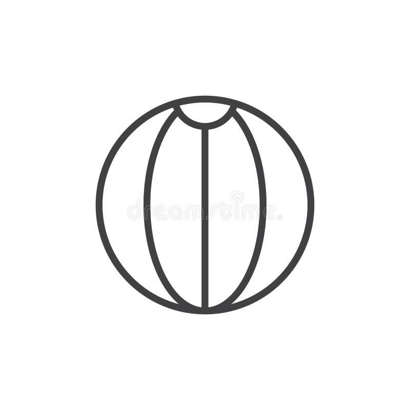 Plażowej piłki konturu ikona ilustracji