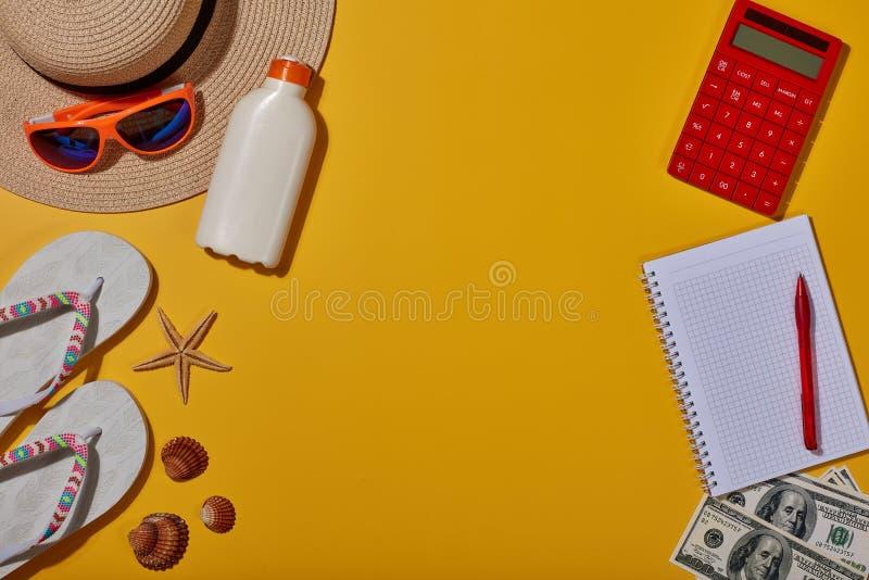 Plażowi akcesoria, Planuje wakacje obrazy stock