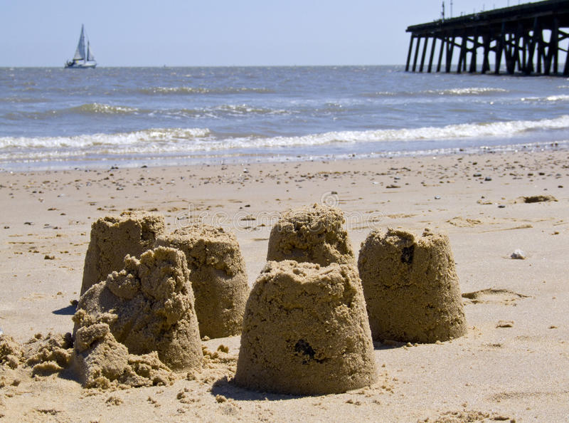 plażowi brytyjscy sandcastles obrazy royalty free