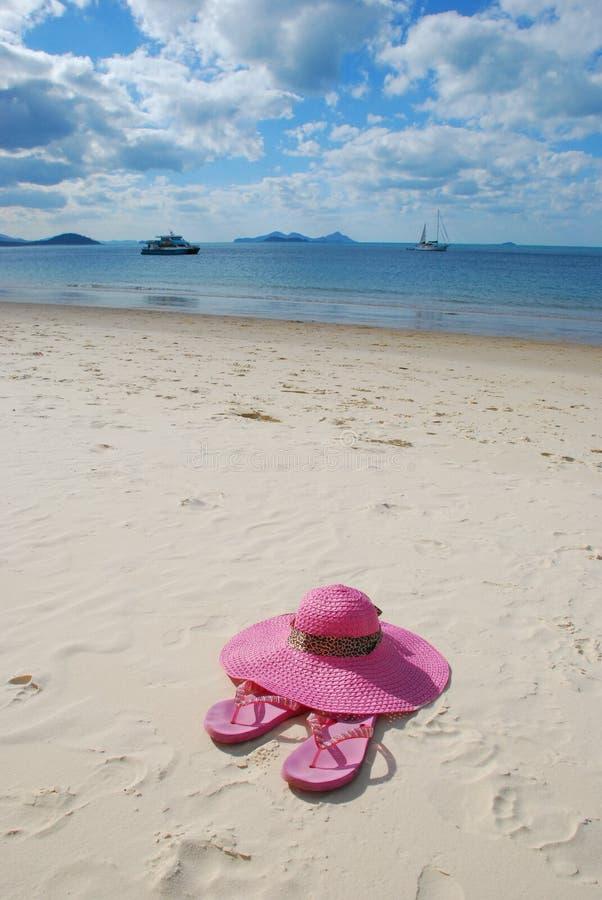 plażowi kapeluszowi sandały obraz stock