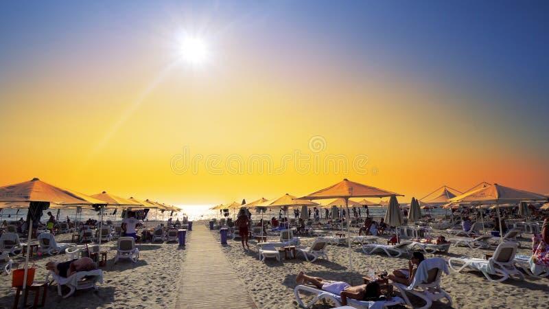 Plażowi krzesła z parasolem na plaży przy zmierzchem obraz stock