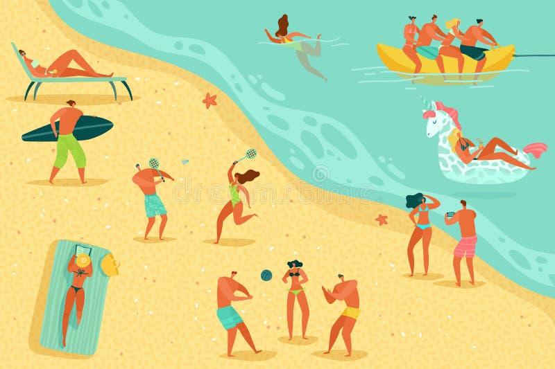 Plażowi ludzie relaksować Persons pływania kobiet mężczyzn dzieciaków gier wodnego dennego oceanu sunbathing rodzinny wakac ilustracji