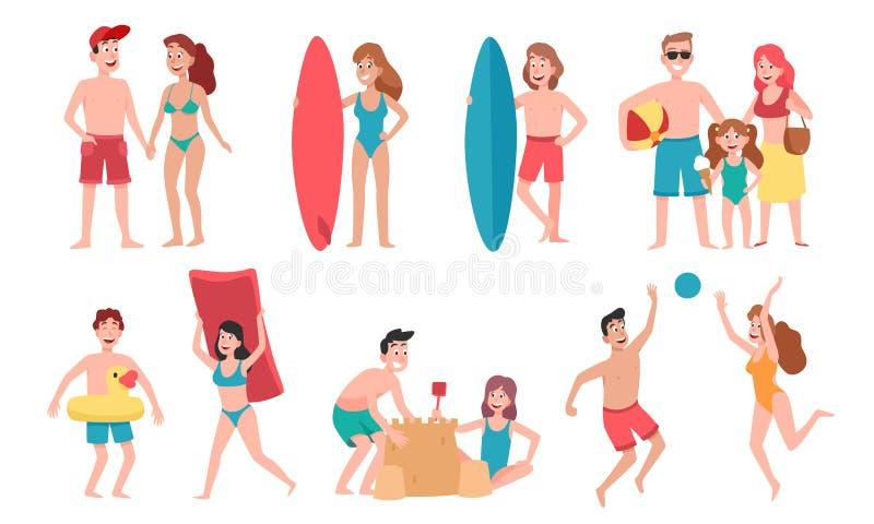Plażowi ludzie Rodzinny wakacje wakacje, sunbathing na plażowej i szczęśliwej przyjaciela lata zabawy kreskówki wektoru ilustracj ilustracja wektor
