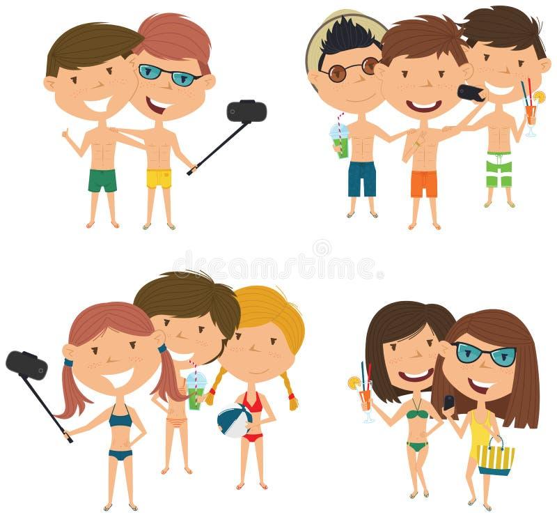 Plażowi męscy i żeńscy charaktery robią selfie wektorowi royalty ilustracja
