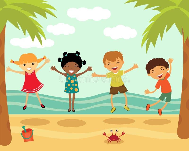 plażowi szczęśliwi skokowi dzieciaki royalty ilustracja