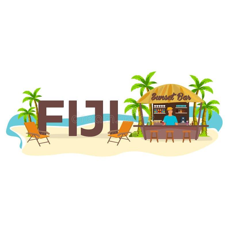 Plażowy bar drucik Podróż Palma, napój, lato, holu krzesło, tropikalny royalty ilustracja
