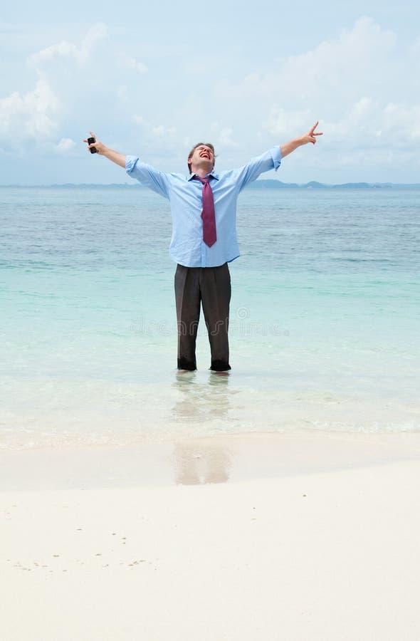 plażowy biznesowy śmieszny mężczyzna zdjęcie royalty free