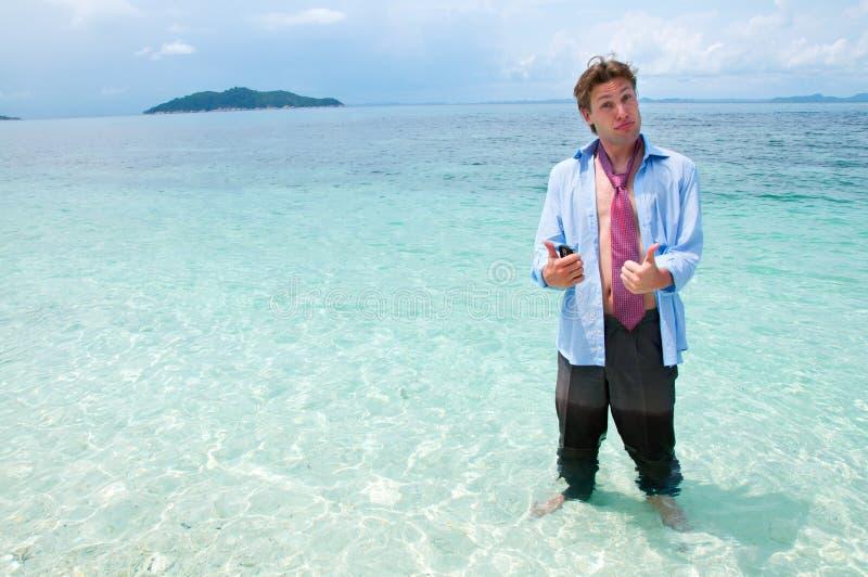 plażowy biznesowy śmieszny mężczyzna fotografia royalty free