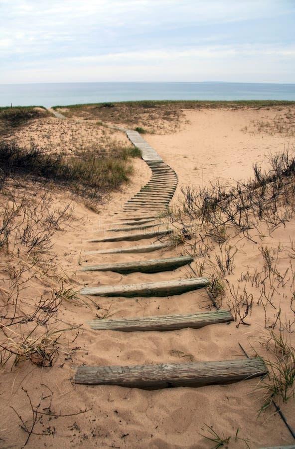 plażowy boardwalk Michigan cewienie fotografia royalty free