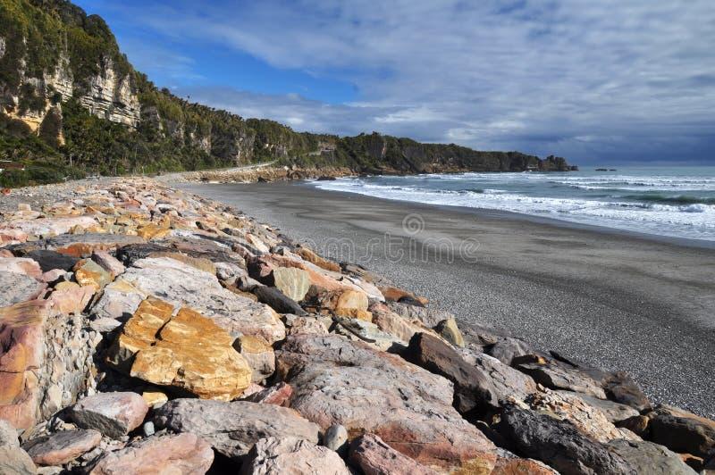 plażowy brzegowy nowy punakaiki zachodni Zealand zdjęcie stock