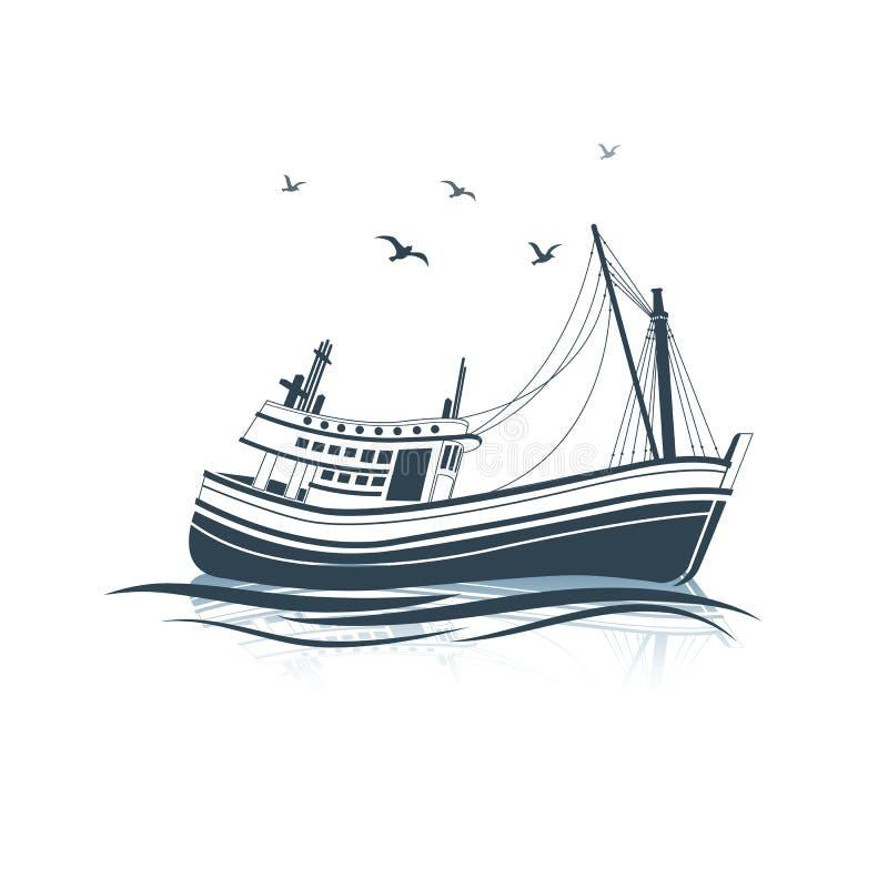plażowy Danang łodzi rybackich viet nam ilustracja wektor