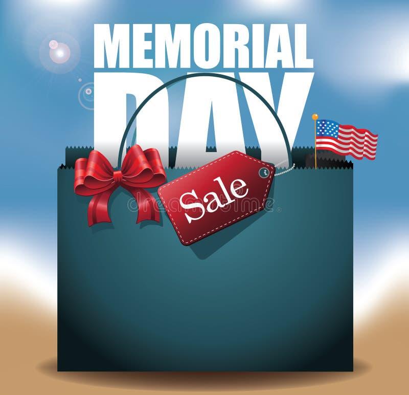 Plażowy dzień pamięci sprzedaży torba na zakupy tło ilustracja wektor