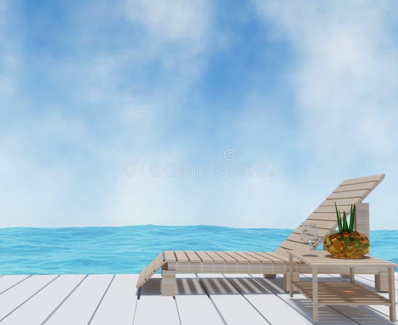 Plażowy holu wnętrze z plażą na seaview w 3D renderingu royalty ilustracja