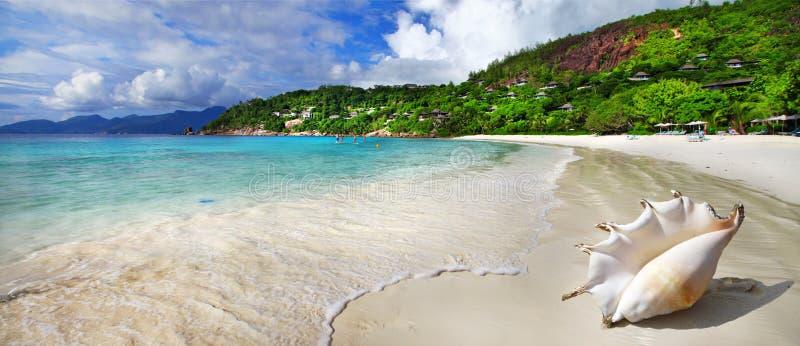 plażowy horyzontalny obrazka piaska scenerii morze Seychelles zdjęcie royalty free