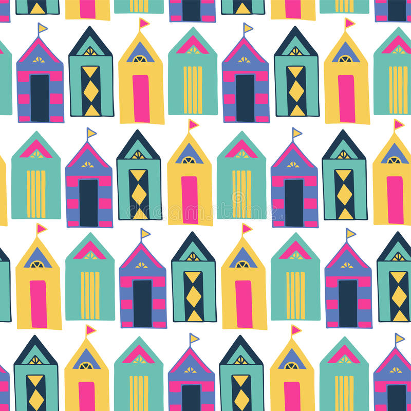 Plażowy kabinowy jaskrawy kolorowy geometryczny wektorowy bezszwowy wzór ilustracji