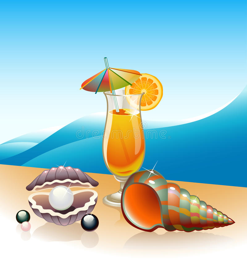 plażowy koktajl royalty ilustracja