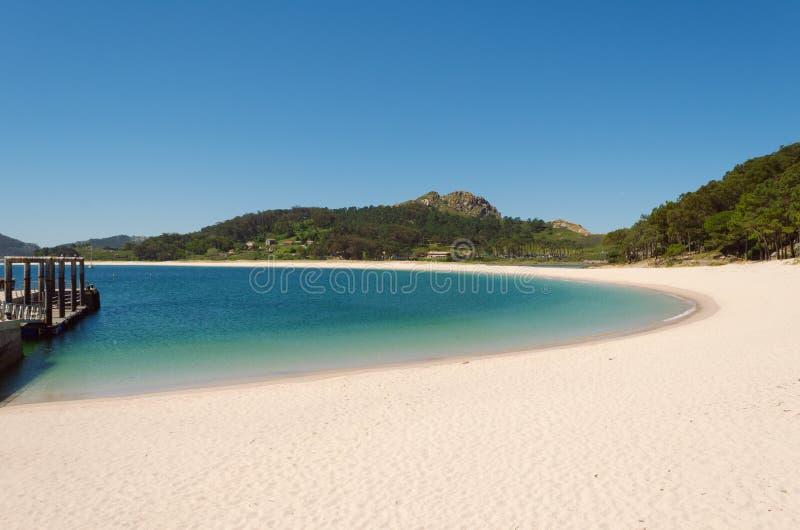 Plażowy krajobraz, plaża Rodas, Cies wyspy galicia Spain Vigo obraz stock