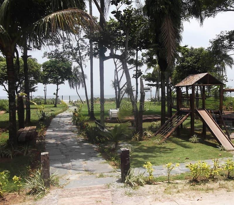 Plażowy krajobraz z boiskiem zdjęcia stock