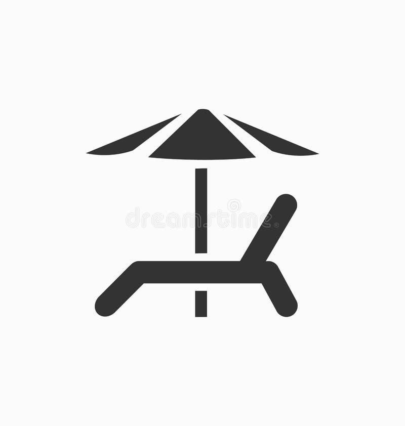 Plażowy krzesło z parasolową ikoną ilustracja wektor