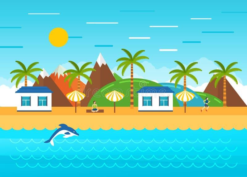 Plażowy lato krajobraz Turystyczne budy na wybrzeżu ilustracja wektor