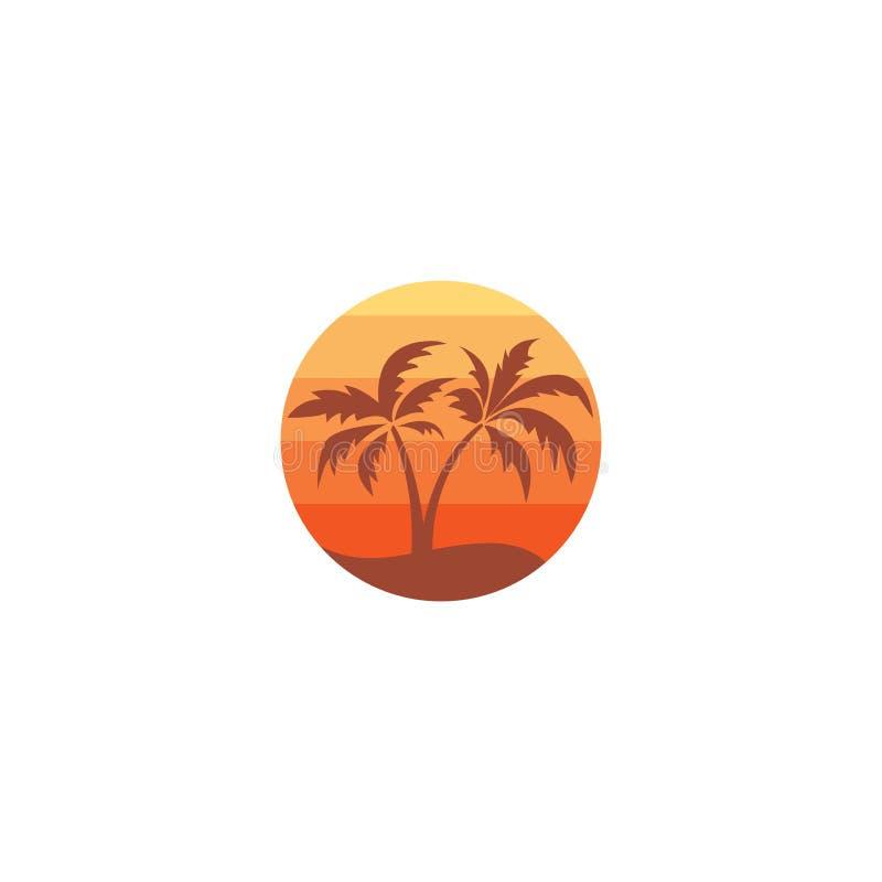 Plażowy logo z drzewko palmowe wektoru ikoną ilustracji