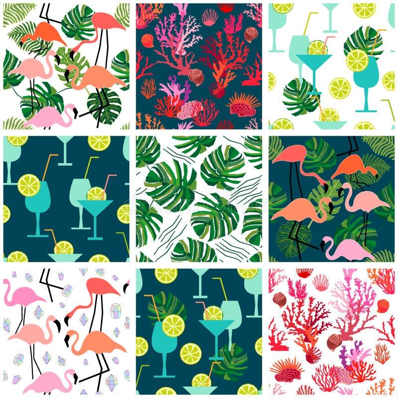 Plażowy moda set Bezszwowi wektorów wzory z tropikalnymi motywami royalty ilustracja