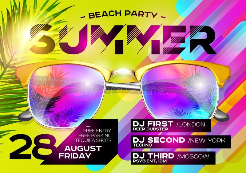 Plażowy Partyjny plakat dla festiwalu muzyki Elektronicznej muzyki pokrywa fo royalty ilustracja