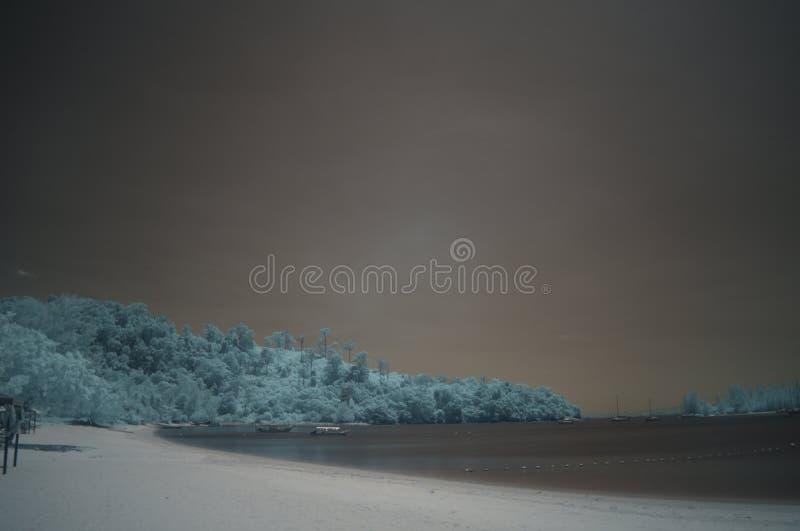 Plażowy pasek, podczerwień, długi ujawnienie fotografia stock