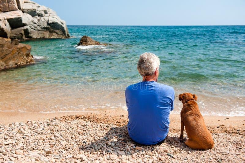 plażowy pies mężczyzna zdjęcia stock