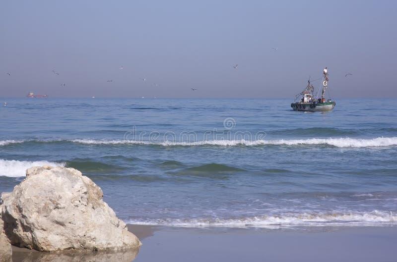 plażowy połowowych łodzi zdjęcia stock