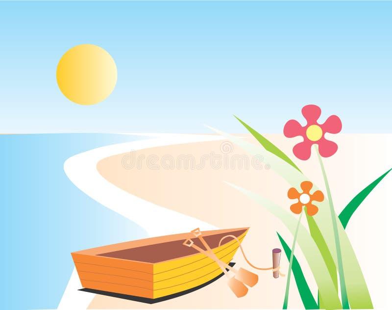 plażowy połowowych łodzi ilustracji