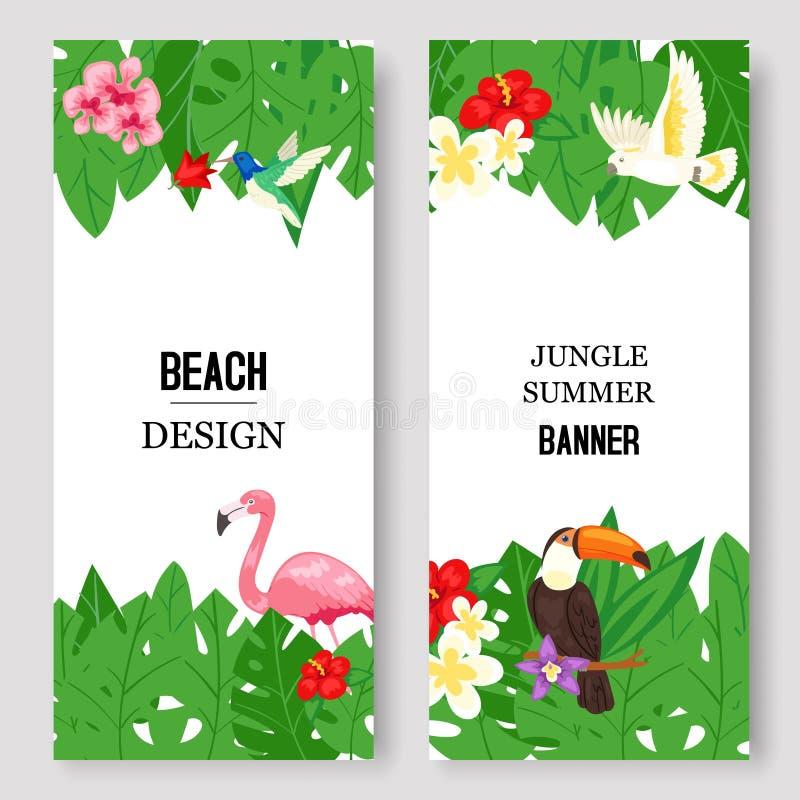 Plażowy projekt, dżungli lato ustawiający sztandaru wektoru ilustracja Różowy flaming i tropikalny drzewko palmowe opuszczamy z k ilustracji