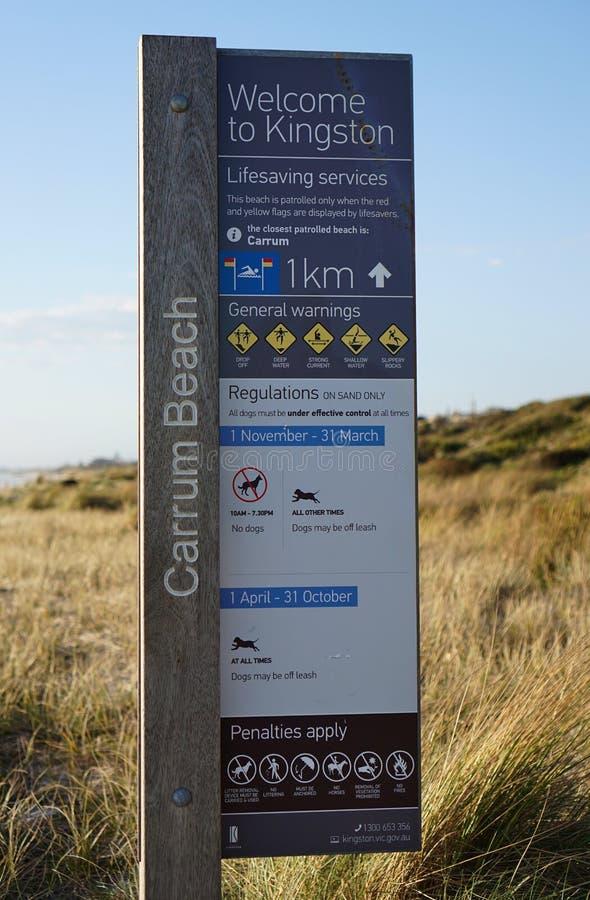 Plażowy przepisu znak przy Carrum plażą fotografia stock