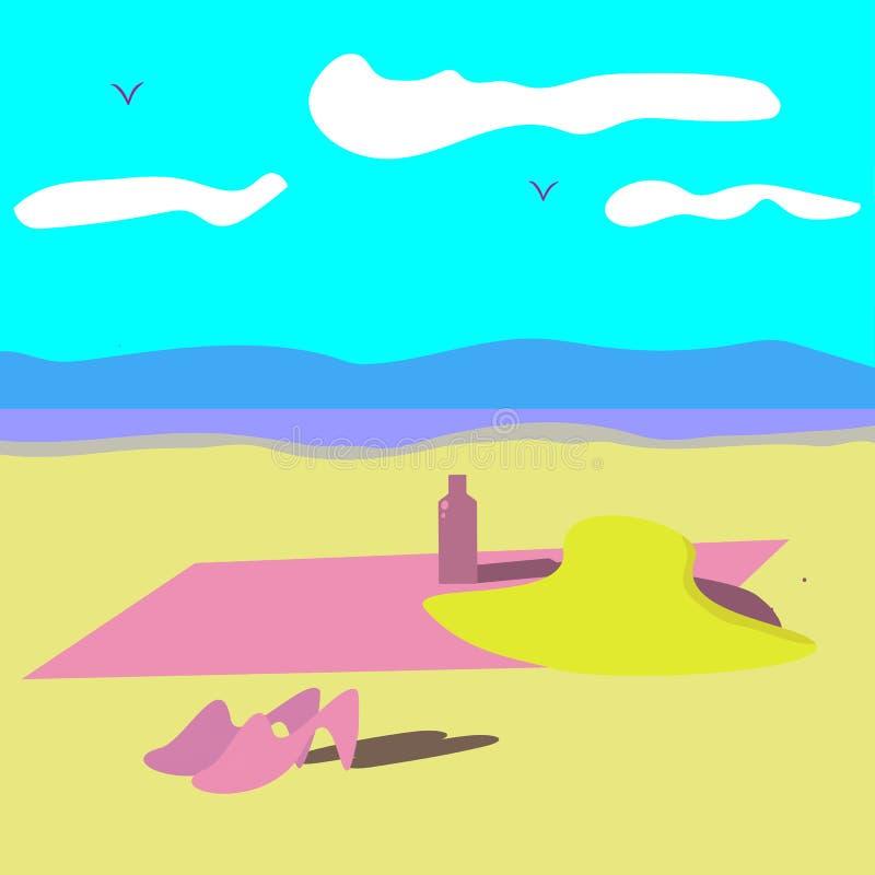 Plażowy ręcznik, kapelusz, buty, śmietanka na niebieskim niebie i wody tła wektoru rysunek, ilustracji