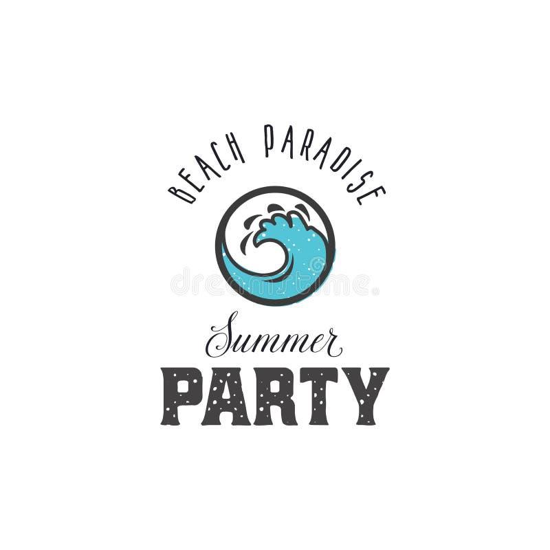 Plażowy raj - lata przyjęcie Rocznika stylu druku projekt dato che koszulka, drukujemy łaty, emblematy, odznaki i etykietki, i royalty ilustracja